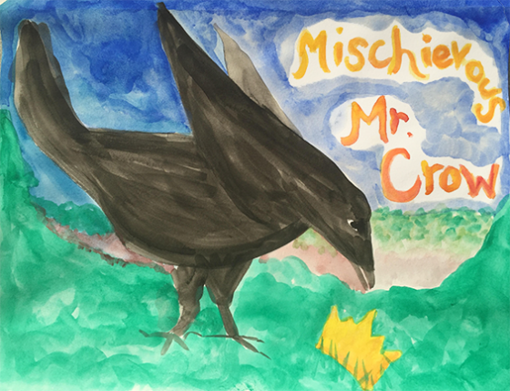 "Mischievous Mr. Crow from ""Jemi and the Lost Crown"" on the April Eight Songs & Stories Podcast at aprileight.com"