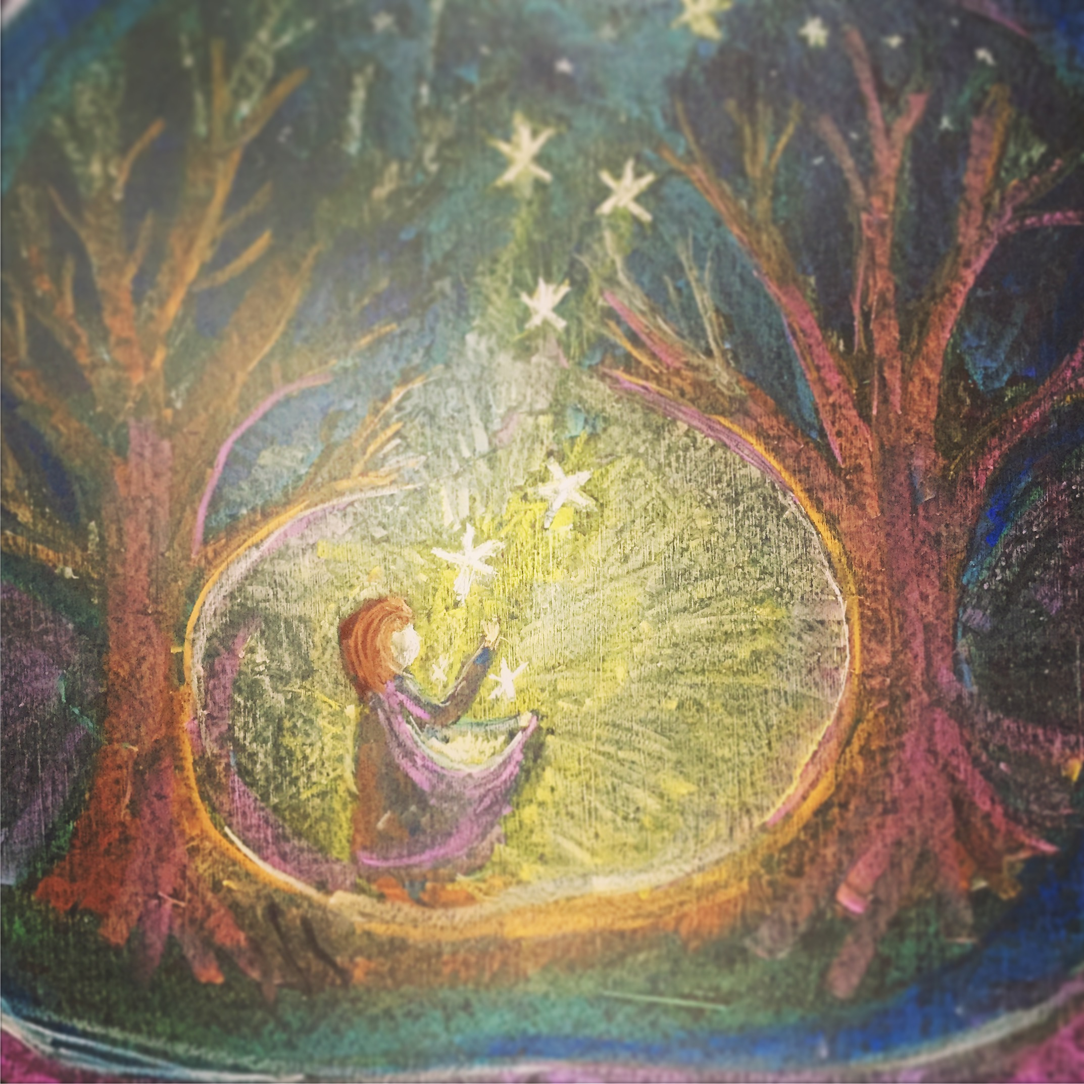 A fairytale chalkboard drawing of The Star Money. Celebrating 100,000 downloads for the April Eight Songs & Stories Podcast at aprileight.com